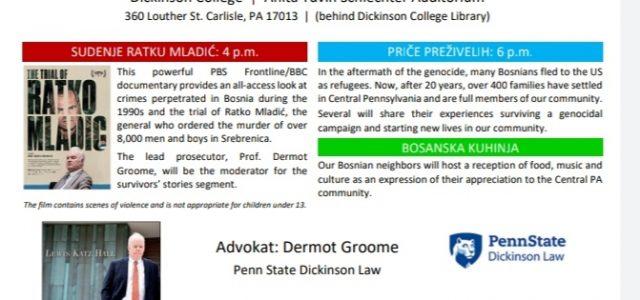 Pen State Dickinson Law School iz grada Carlisle, Pensilvanija u saradnji sa lokalnim bosanskim organizacijama organizira konferenciju na kojoj će biti prezentirane priče izbjeglica iz Bosne i Hercegovine